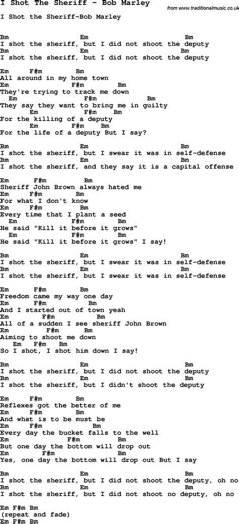 lalala testo song i the sheriff by bob marley song lyric for