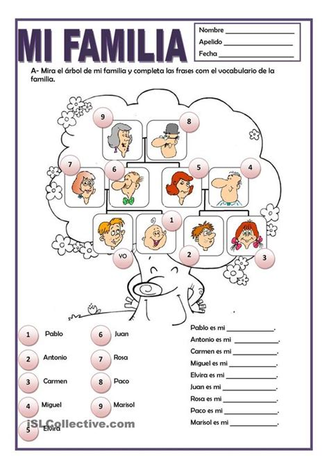 la familia worksheet answers a printable activity to practice family vocabulary with mi familia