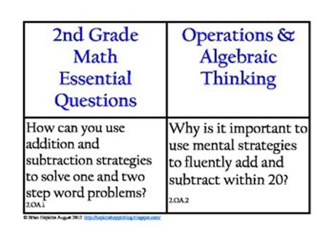 common math essential questions for 2nd grade by brian