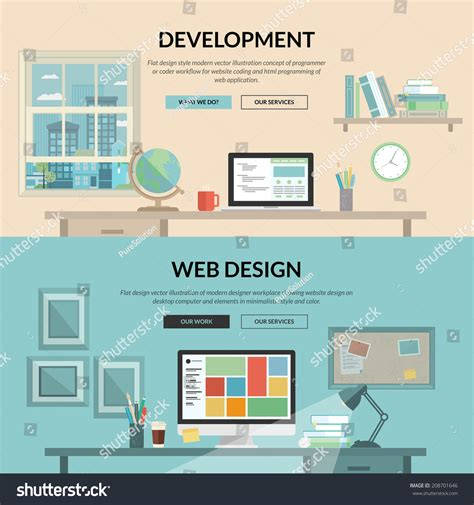 website development workflow set of flat design concept for web development programmer