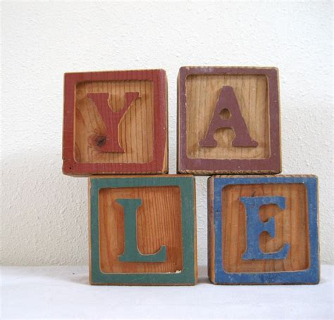 decorative letter blocks for home wood block letters y a l e decorative wooden by