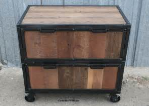 hand made vintage industrial file cabinet reclaimed wood