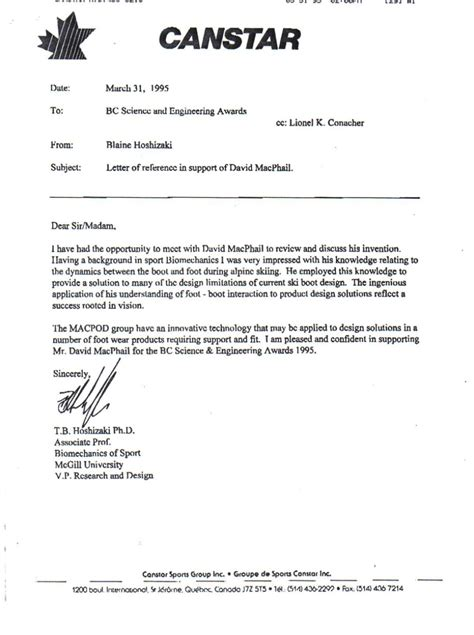 Support Letter Nomination Letter Of Support For Award Sle Templates
