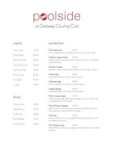 snack bar menu template pool snack bar menu country club menu