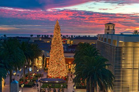 christmas light up in fashion island newport local news sunset at fashion island newport local news