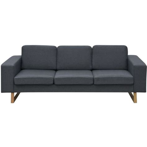 sofa with legs 3 seater fabric sofa with wooden legs in dark grey buy sofas