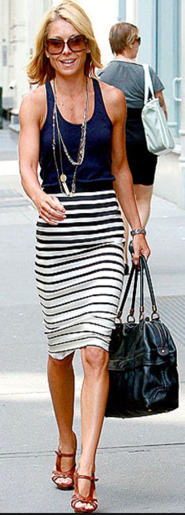 post navy blouse striped jersey pencil skirt