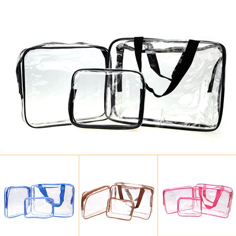 Tas Set Travel Pouch Waterproof 3pcs set pvc transparent cosmetic organizer bag makeup storage bag waterproof travel