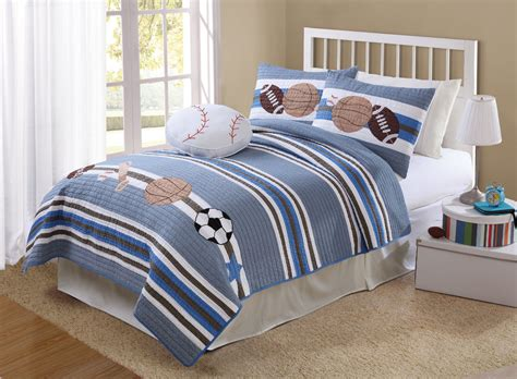 Sport Bed Sets Boy Bedspreads And Comforters White Striped Sports Bedding All Sports Bedding Boys Sports