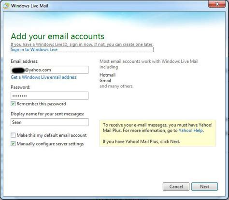 email yahoo imap chanh vuong 187 blog archive 187 configure live mail 2011 for