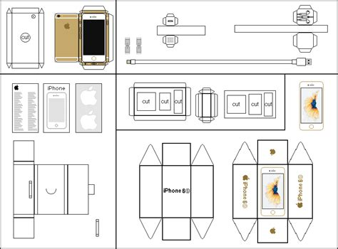 Papercraft Box Template - papercraft gold iphone 6s and box