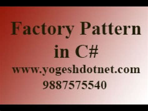 factory pattern youtube factory pattern c real world exle youtube