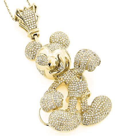 iced out mickey mouse pendant 5 80ct 10k gold