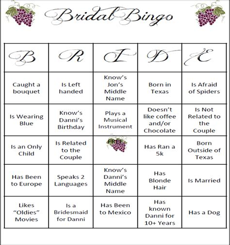 6 best images of bride bingo template printable bridal