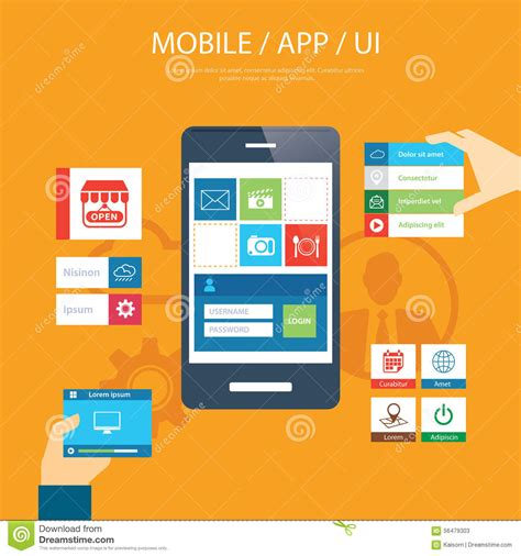 app design elements vector mobile app and ui element flat design stock vector image
