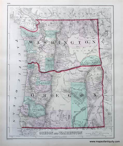 map of oregon washington oregon and washington sold antique maps and