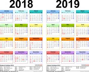 Calendar 2018 Printable 2018 2019 Calendar Free Printable Two Year Word Calendars