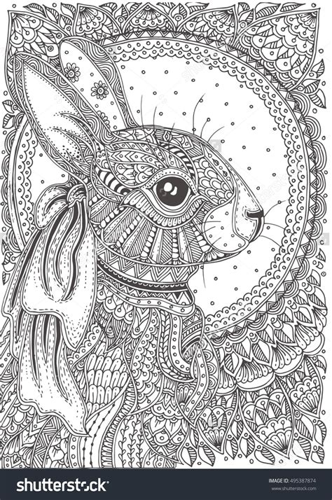 zen coloring books for adults rabbit with ethnic floral doodle pattern