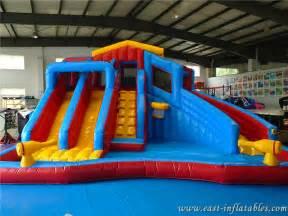 giant cheap airblown inflatable water gun slide swimming