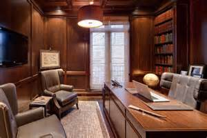Interior Decorating Ideas For Home wood paneling adds elegance and warmth to your home office
