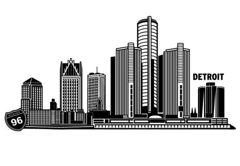 detroit skyline wall decal great cityscape decor