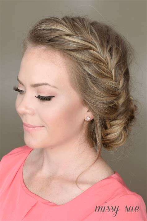 front hairstyles with a bun fishtail french braid braided bun