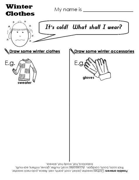 Winter Worksheets by Search Results For Winter Clothing Worksheets Calendar