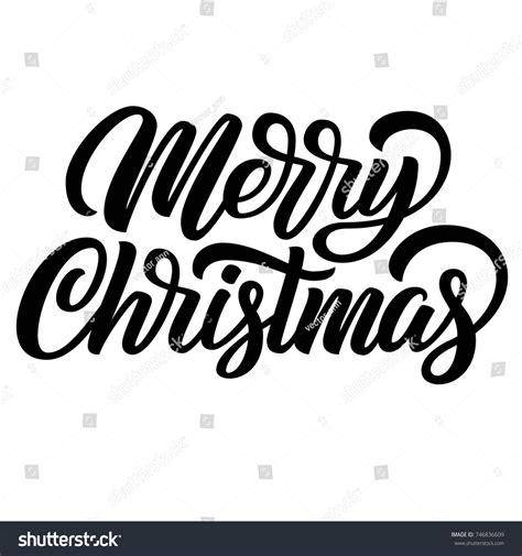 merry christmas black ink brush hand stock vector  shutterstock