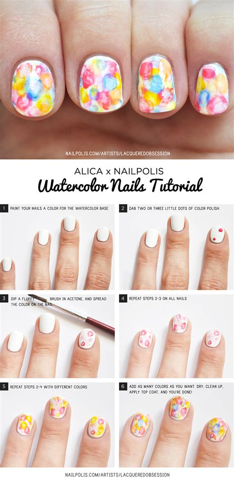 watercolor nails tutorial watercolor nail art tutorial nailpolis magazine