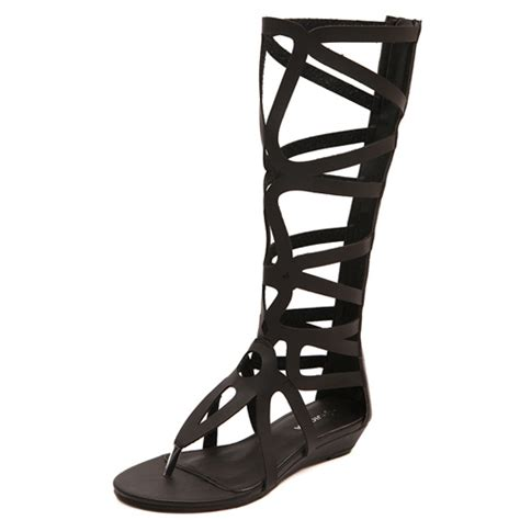 cheap black gladiator sandals fashion clip toe hollow out flat low heel black pu