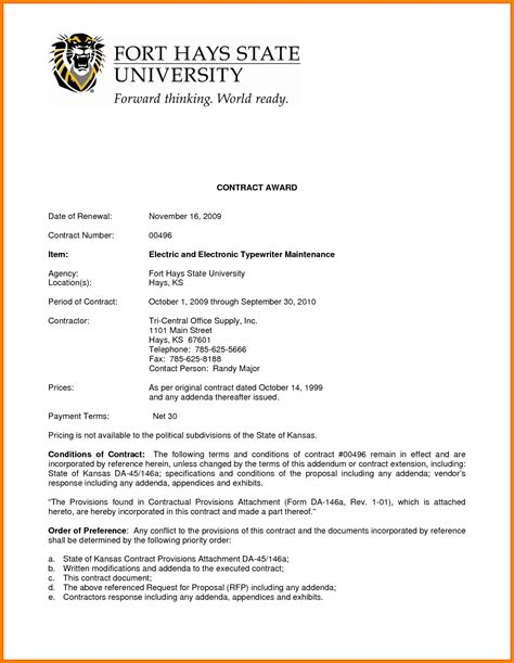 Contract Offer Letter Format new business contract letter resume daily