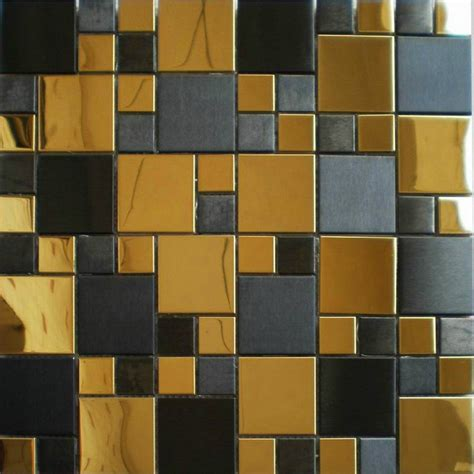 gold mix black metal mosaic tile smmt037 stainless steel