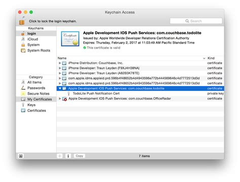 xcode keychain tutorial setting up uniqush with apns seven story rabbit hole