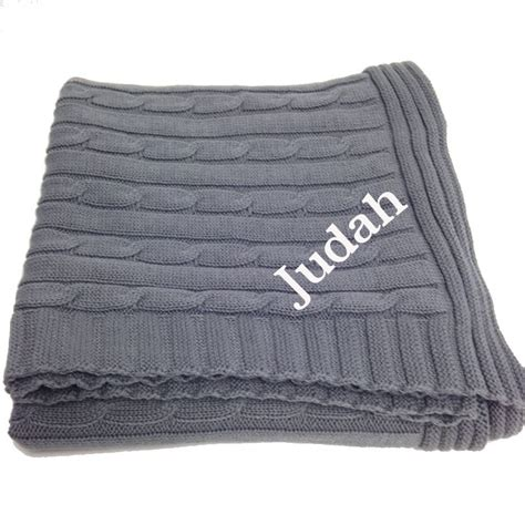 grey cable knit baby blanket personalized blanket grey cable knit you name it baby