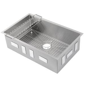 Kitchen Sink Racks Stainless Kohler Strive Undermount Stainless Steel 29 In Single Bowl Kitchen Sink Kit With Bowl Rack K