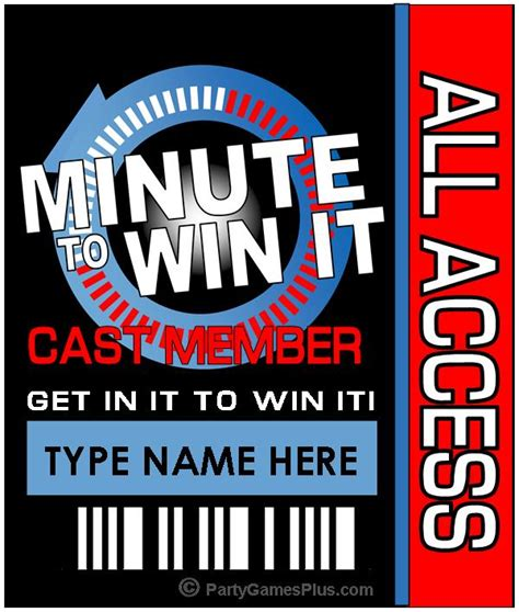 minute  win  party supplies printables  invitations