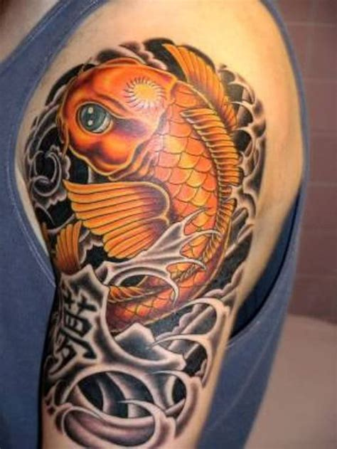 tattoo meaning fish koi fish tattoo colored fish on shaded asian water
