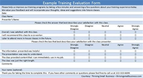 sample training evaluation form the thriving small business