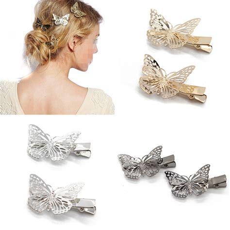 Fashion Hair Accecories A49014 Gold 4 pcs fashion hair accessories hairwear hair grips metal gold color butterfly hair clip hairpins
