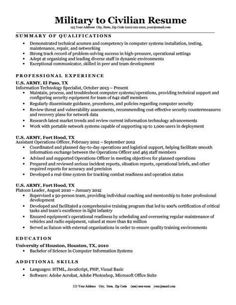 Civilian To Resume by To Civilian Resume Sle Tips Resume Companion