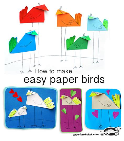 How To Make A Easy Paper Bird - krokotak how to make easy paper birds