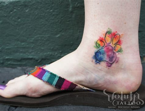 paw print tattoo placement watercolor paw print i like the bright colors not