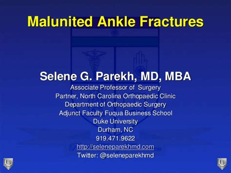 Mba Unc Login by Lecture 40 Parekh Malunited Ankle Fracture