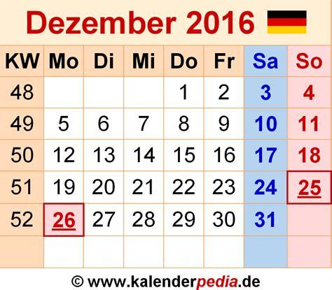 Kalender 2016 Dezember Kalender Dezember 2016 Als Excel Vorlagen