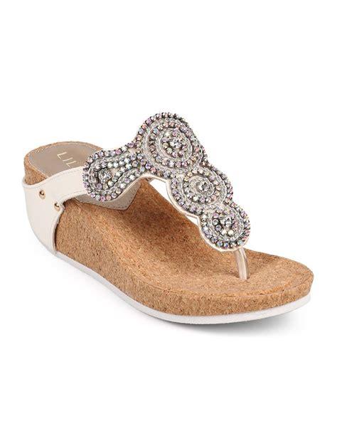 rhinestone wedge sandals shoes liliana df53 leatherette medallion rhinestone
