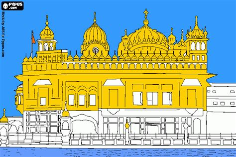 golden temple coloring page, printable golden temple