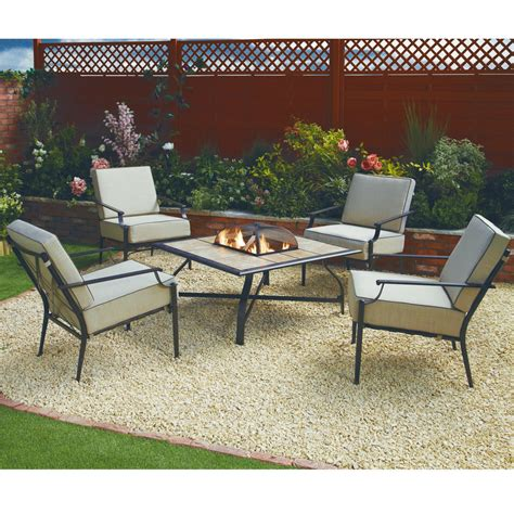 Firepit Table And Chairs Nevada 4 Cushion Chair Set
