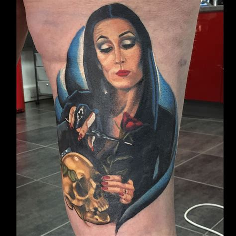 morticia addams tattoo 29 hauntingly beautiful morticia tattoos revelist