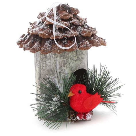 rustic christmas birdhouse ornament artificial birds