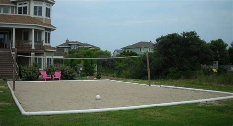 backyard sand volleyball court outdoor sand volleyball court installation on the outer banks
